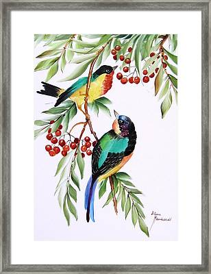 1152 Little Birds And Berries Framed Print by Wilma Manhardt