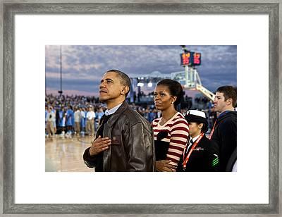 President Barack Obama And First Lady Framed Print by Everett