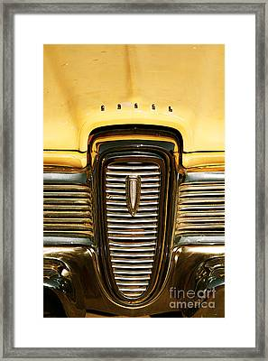 Rusted Antique Ford Car Brand Ornament Framed Print by ELITE IMAGE photography By Chad McDermott