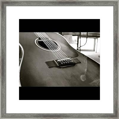 12 String Guitar In Bw Framed Print