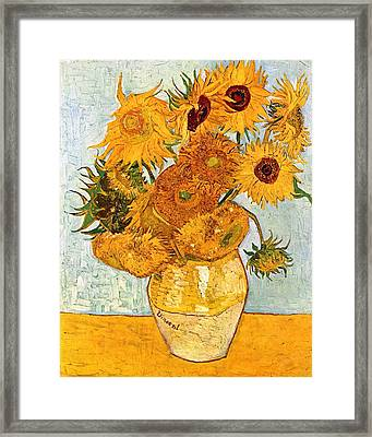 12 Sunflowers In A Vase Framed Print by Sumit Mehndiratta