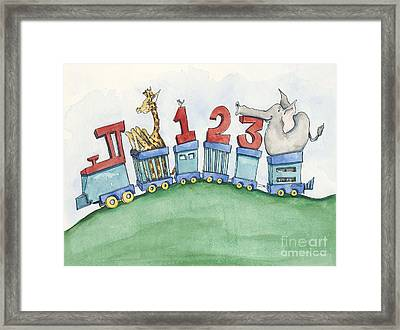 123 Animal Train Framed Print by Annie Laurie