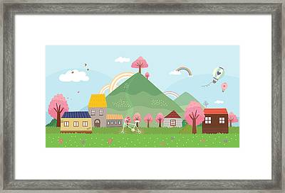 View Of Town Framed Print by Eastnine Inc.