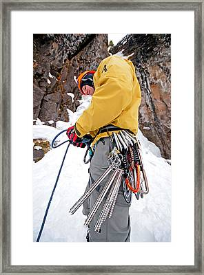 Ice Climber Framed Print by Elijah Weber