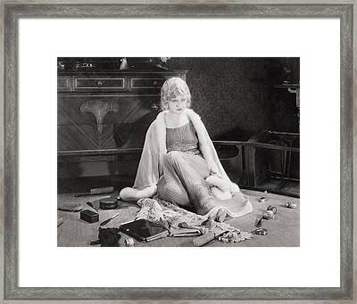 Silent Film Still: Woman Framed Print by Granger