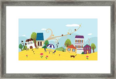View Of Town Framed Print