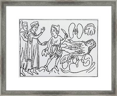 14th Century Depiction Of Dissection Framed Print by