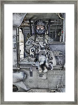 Hdr Image Of A Uh-60 Black Hawk Door Framed Print by Terry Moore
