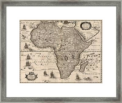1640 Map Of Africa Showing Geographic Framed Print by Everett