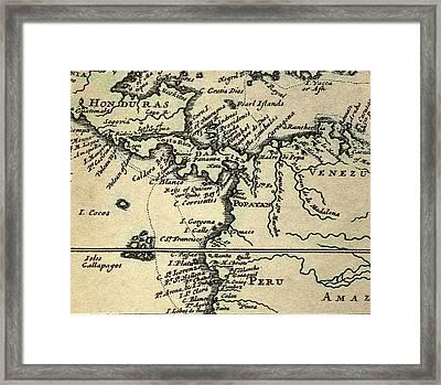 1698 W. Dampier Pirate Naturalist Map Framed Print by Paul D Stewart