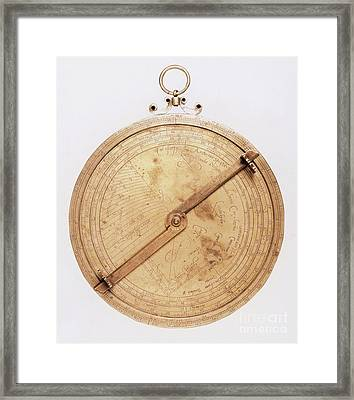 16th Century Astrolabe Framed Print by Science Source