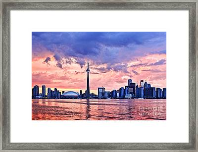 Toronto Sunset Skyline Framed Print by Elena Elisseeva