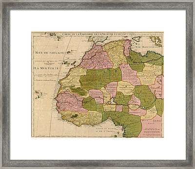 1707 French Map Of Northwest Africa Framed Print
