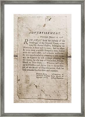 1776 Advertisement For The Return Framed Print