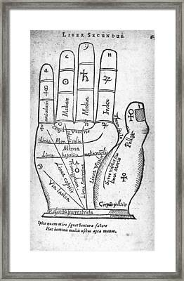 17th Century Palmistry Diagram Framed Print by Middle Temple Library
