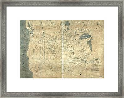 1805 Lewis And Clark Map Of Part Framed Print by Everett