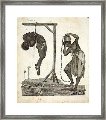 1810 Punishment Of Slaves Engraving Framed Print by Paul D Stewart