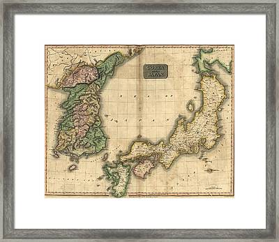 1815 Map Of Japan And Korea, Showing Framed Print by Everett