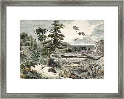 1833 Penny Magazine Extinct Animals Crop Framed Print by Paul D Stewart