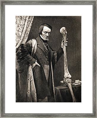 1846 Richard Owen And Moa Leg Fossil Framed Print