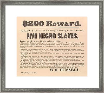 1847 Advertisement For The Return Framed Print