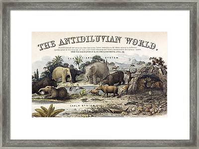 1849 The Antidiluvian World Crop Jurassic Framed Print by Paul D Stewart