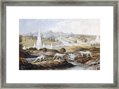 1854 Crystal Palace Dinosaurs By Baxter 1 Framed Print