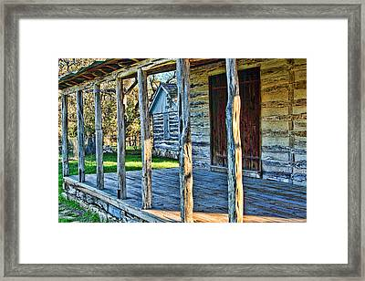 1860 Log Cabin Porch Framed Print by Linda Phelps