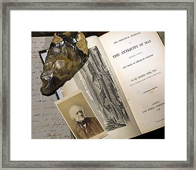 1863 Lyell's Antiquity Of Man Desktop. Framed Print by Paul D Stewart
