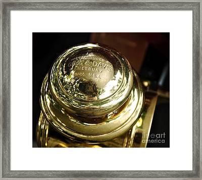 1907 Stanley Steamer - Top View Brass Tail Light Framed Print by Kaye Menner