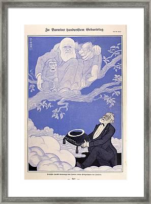 1909 Cartoon Darwin, Apes, Haeckel Framed Print by Paul D Stewart