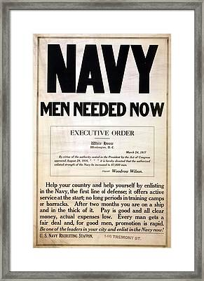 1917 Recruitment Poster For The Us Framed Print by Everett