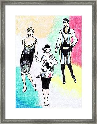 1920s Gals 3 Framed Print by Mel Thompson