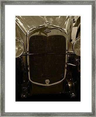 1930 Ford Model A Rumble Seat Roadster Grill Sepia Tone Framed Print by Ken Smith