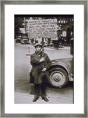 1930, Scene Of The Depression In Detroit Framed Print