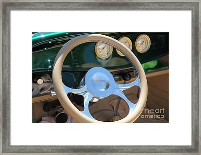 1932 Ford Roadster Steering Wheel And Guages . 5d16176 Framed Print by Wingsdomain Art and Photography