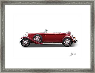 1932 Packard On White Framed Print by Alain Jamar