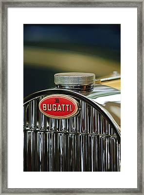 1935 Bugatti Type 57 Grand Raid Roadster Emblem Framed Print by Jill Reger