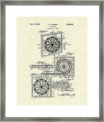 1936 Patent Art Dart Board Framed Print