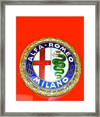 Framed Print featuring the photograph 1938 Alfa Romeo 308c Hood Badge by John Colley