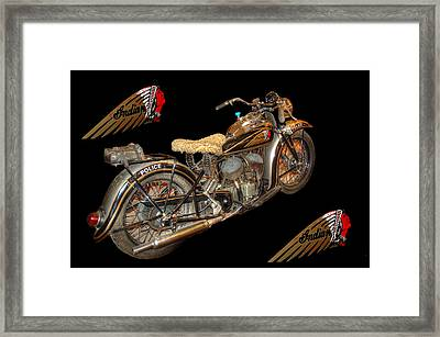 1940 Indian Scout Police Unit Version 3 Framed Print by Ken Smith