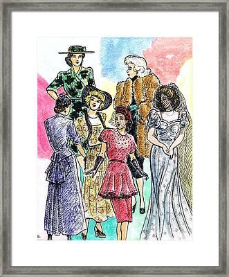 1940s Fashions Framed Print by Mel Thompson