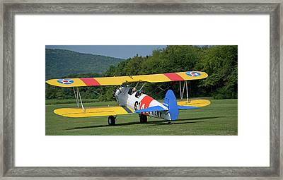 1941 Stearman Taxiing For Takeoff Framed Print by Jim and Kim Shivers