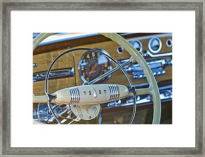 1949 Hudson Commodore 6 Convertible Steering Wheel Framed Print by Jill Reger