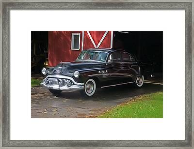 1952 Buick And Old Barn Framed Print by Elizabeth Coats