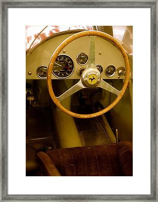 Framed Print featuring the photograph 1952 Ferrari 500 625 Cockpit by John Colley