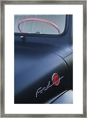 1953 Ford F-100 Pickup Truck Steering Wheel And Emblem Framed Print by Jill Reger