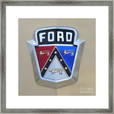 1954 Ford Customline Emblem Close Up Framed Print by Paul Ward
