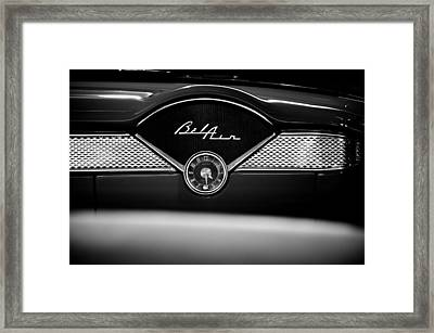 1955 Chevy Bel Air Glow Compartment In Black And White Framed Print