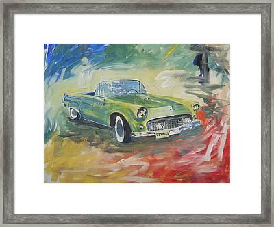 1955 Green Tbird Framed Print by Candace Nalepa
